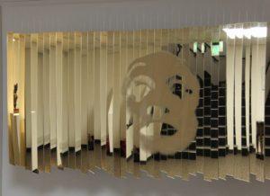 installation piece, contemporary art, mirrors, mime, exhibition, solo exhibition, bronze sculptures, figurative sculptures, show, museum