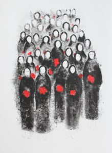 print, prints, women's rights, social justice, political art, social art, installation, contemporary art, museum, ink, paper, black and white, printmaking, drawing, historical art, women, islamic art, islamicart, poem, poet, balloons, red, black and white, ink, ink on paper, flowers